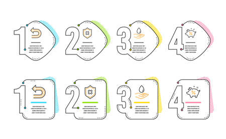 Reject protection, Water care and Undo icons simple set. Loan percent sign. No security, Aqua drop, Left turn. Piggy bank. Business set. Infographic timeline. Line reject protection icon. Vector