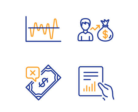 Stock analysis, Sallary and Rejected payment icons simple set. Document sign. Business trade, Person earnings, Bank transfer. File with diagram. Finance set. Linear stock analysis icon. Vector