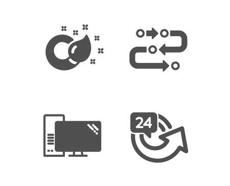 Set of Paint brush, Methodology and Computer icons. 24 hours sign. Creativity, Development process, Pc component. Repeat.  Classic design paint brush icon. Flat design. Vector