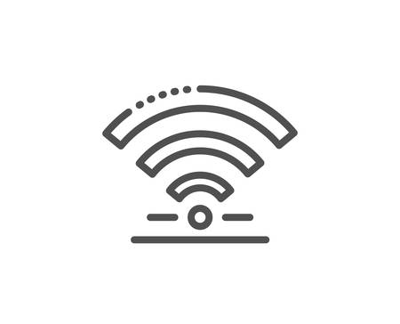 Wifi line icon. Wireless internet sign. Hotel service symbol. Quality design element. Linear style wifi icon. Editable stroke. Vector
