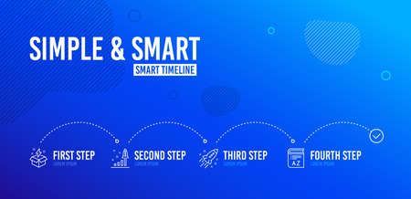 Infographic timeline. Startup rocket, Development plan and Creative idea icons simple set. Vocabulary sign. Business innovation, Strategy, Lightning. Book. Education set. 4 steps layout. Vector Illustration