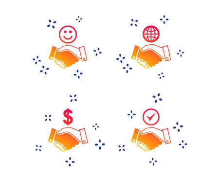 Handshake icons. World, Smile happy face and house building symbol. Dollar cash money. Amicable agreement. Random dynamic shapes. Gradient handshake icon. Vector