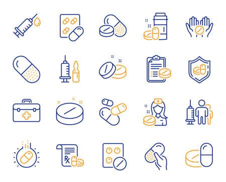 Iconos de línea de medicamentos médicos. Signos de atención médica, prescripción y píldora. Medicamentos de farmacia, enfermera médica, iconos de píldoras de recetas. Cápsula de antibiótico, vacunación con jeringa, cura de medicina. Vector