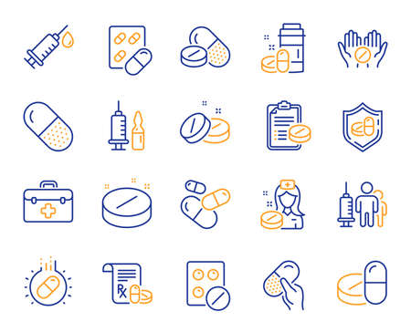 Medical drugs line icons. Healthcare, Prescription and Pill signs. Pharmacy drugs, medical nurse, recipe pill icons. Antibiotic capsule, syringe vaccination, medicine cure. Vector Zdjęcie Seryjne - 122932555