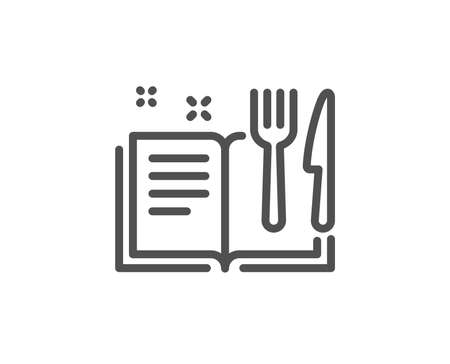 Recipe book line icon. Cutlery sign. Fork, knife symbol. Quality design element. Linear style recipe book icon. Editable stroke. Vector
