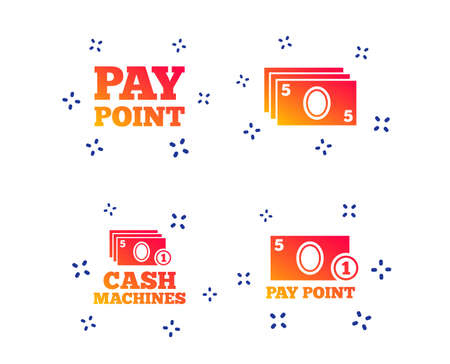 Cash and coin icons. Cash machines or ATM signs. Pay point or Withdrawal symbols. Random dynamic shapes. Gradient cash icon. Vector