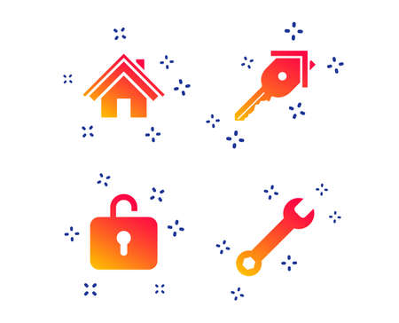 Home key icon. Wrench service tool symbol. Locker sign. Main page web navigation. Random dynamic shapes. Gradient key icon. Vector