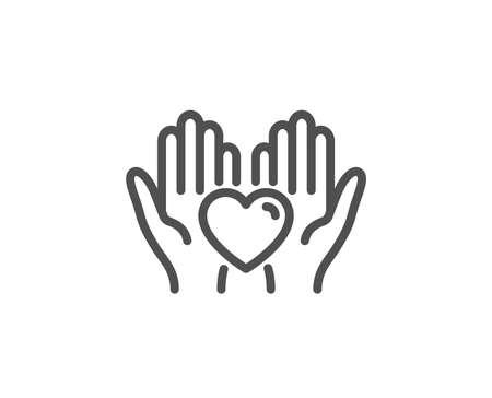 Tenere l'icona della linea del cuore. Gli amici amano il segno. Simbolo della mano dell'amicizia. Elemento di design di qualità. Icona del cuore di attesa in stile lineare. Tratto modificabile. Vettore Vettoriali