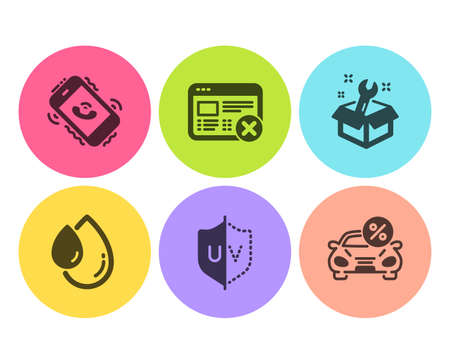 Uv protection, Call center and Spanner icons simple set. Reject web, Oil drop and Car leasing signs. Ultraviolet, Phone support. Business set. Flat uv protection icon. Circle button. Vector Banque d'images - 122932612