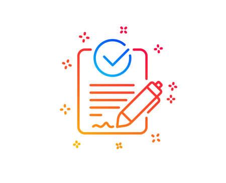 Icône de ligne Rfp. Demande de signe de proposition. Signaler le symbole du document. Éléments de conception de dégradé. Icône rfp linéaire. Formes aléatoires. Vecteur