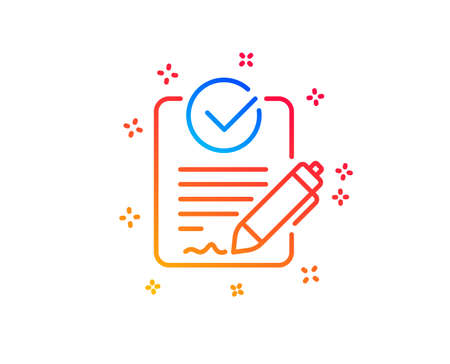 Rfp line icon. Request for proposal sign. Report document symbol. Gradient design elements. Linear rfp icon. Random shapes. Vector