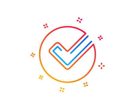 Check line icon. Approved Tick sign. Confirm, Done or Accept symbol. Gradient design elements. Linear verify icon. Random shapes. Vector