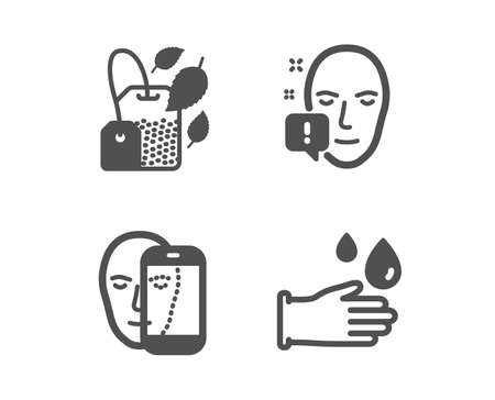 Set of Face biometrics, Mint bag and Face attention icons. Rubber gloves sign. Facial recognition, Mentha tea, Exclamation mark. Hygiene equipment.  Classic design face biometrics icon. Flat design