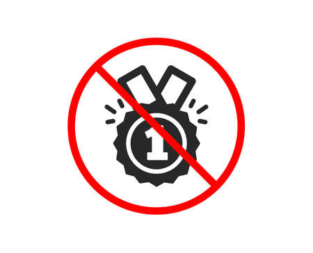 No or Stop. Reward Medal icon. Winner achievement or Award symbol. Glory or Honor sign. Prohibited ban stop symbol. No approved icon. Vector Vektorgrafik