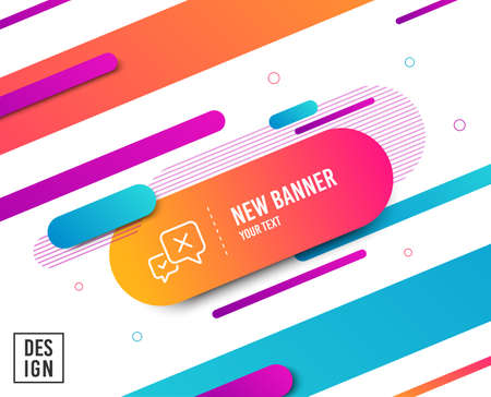 Reject message line icon. Decline or remove chat sign. Diagonal abstract banner. Linear reject icon. Geometric line shapes. Vector