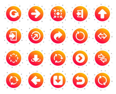 Arrows icons. Set of Download or Share, Synchronize and Recycle signs. Undo, Refresh arrows and Login symbols. Sign out, Next and Upload. Universal share Arrow elements. Gradient buttons set. Vector