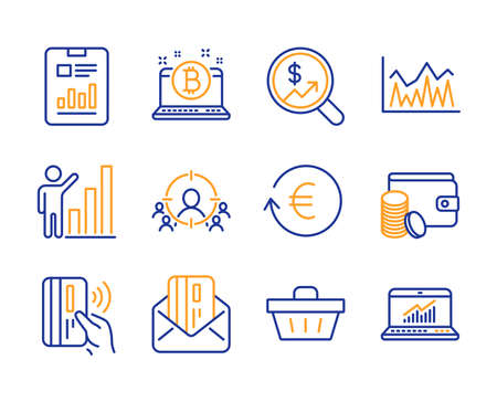 Investment, Graph chart and Report document icons simple set. Contactless payment, Bitcoin and Payment method signs. Exchange currency, Business targeting and Shopping basket symbols. Vector