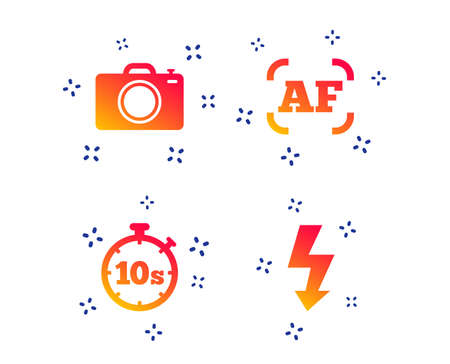 Photo camera icon. Flash light and autofocus AF symbols. Stopwatch timer 10 seconds sign. Random dynamic shapes. Gradient photo icon. Vector