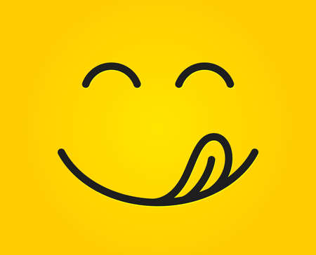 Emoticon de sonrisa deliciosa con lengua lame la boca. Comida sabrosa comiendo cara de emoji. Deliciosos dibujos animados sobre fondo amarillo. Diseño de líneas faciales. Gourmet sabroso. Vector