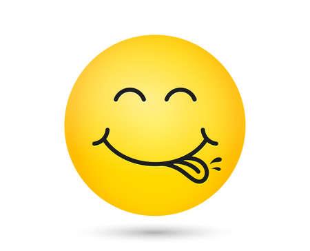 Emoticon di smiley squisito con la bocca di leccare la lingua. Cibo gustoso che mangia faccia emoji. Delizioso cartone animato con gocce di saliva su sfondo giallo. Faccina sorridente. Gourmet salato. Vettore squisito