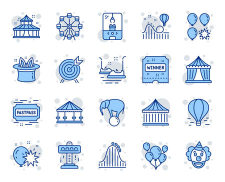 Amusement park line icons. Set of Carousel, Roller coaster and Circus icons. Air balloon, Crane claw machine and Fastpass symbols. Circus amusement park tickets. Ferris wheel carousel. Vector Vettoriali