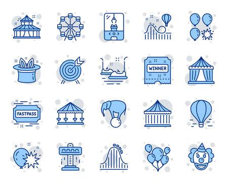 Pretpark lijn pictogrammen. Set van carrousel, achtbaan en Circus iconen. Luchtballon, Kraanklauwmachine en Fastpass-symbolen. Kaartjes voor circuspretparken. Reuzenrad carrousel. Vector Vector Illustratie