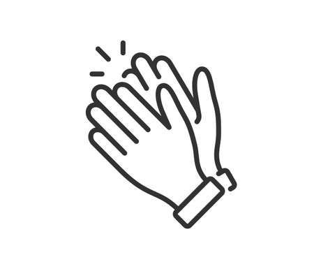 Clapping hand icon. Applause clap. Celebration hand gesture. Audience slam icon. Cheers slap sign. Celebration expression. Clapping symbol in outline style. People appreciation vector