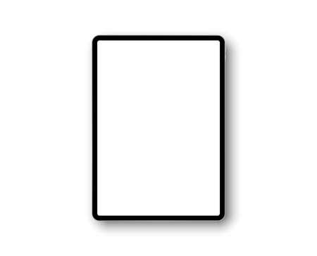 Appareil ipad pro avec écran 11 pouces. Cadre de modèle avec ombre. Tablette, appareil mobile. Gadget multi-touch. Modèle pour la conception et la présentation. Illustration vectorielle ipad Vecteurs
