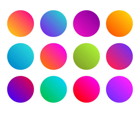 Rounded gradient sphere button. Multicolor fluid circle gradients, colorful soft round buttons. Vivid color spheres set. Flat vector Ilustrace