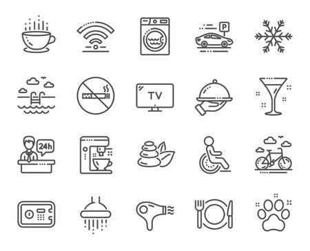 Hotel service line icons. Wi-Fi, Air conditioning and Coffee maker machine. Spa stones, swimming pool and bike rental icons. Hotel parking, safe and shower. Food, coffee cup. Vector