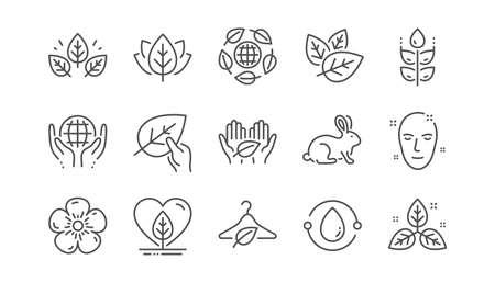 Icônes de ligne de cosmétiques biologiques. Slow fashion, parfum de synthèse, commerce équitable. Textiles durables, tests sur les animaux, icônes écologiques. Ensemble linéaire. Vecteur