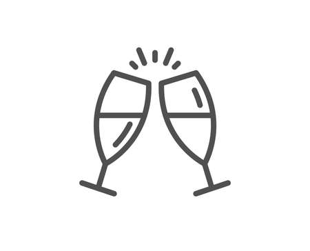 Champagne glasses line icon. Romantic celebration sign. Love chin-chin symbol. Quality design element. Linear style champagne glasses icon. Editable stroke. Vector