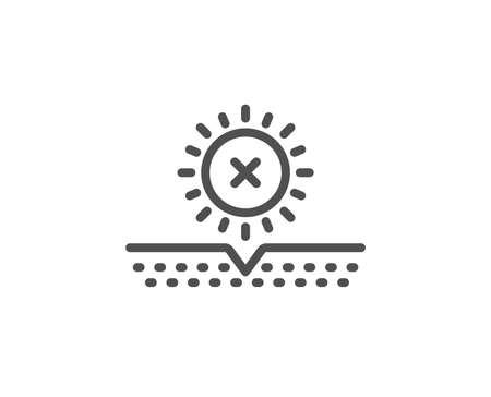 No sun protection line icon. Skin care sign. Cosmetic cream symbol. Quality design element. Linear style no sun icon. Editable stroke. Vector