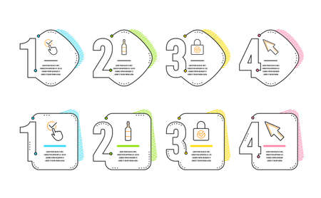Password encryption, Checkbox and Brandy bottle icons simple set. Mouse cursor sign. Protection locker, Approved, Whiskey. Click arrow. Business set. Infographic timeline. Vector Illustration
