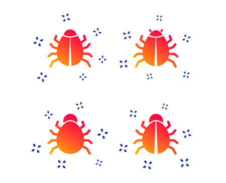 Bugs vaccination icons. Virus software error sign symbols. Random dynamic shapes. Gradient bugs icon. Vector