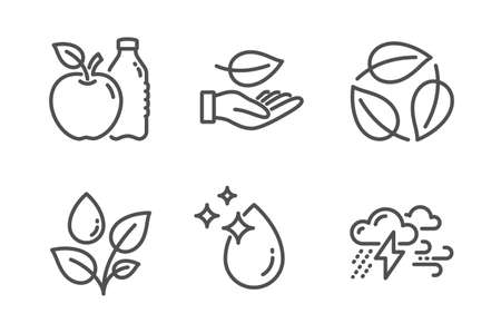 Leaves, Plants watering and Apple icons simple set. Leaf, Water drop and Bad weather signs. Nature leaf, Water drop. Nature set. Line leaves icon. Editable stroke. Vector