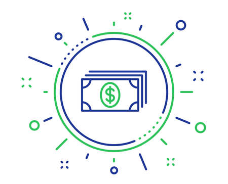 Cash money line icon. Banking currency sign. Dollar or USD symbol. Quality design elements. Technology banking button. Editable stroke. Vector  イラスト・ベクター素材