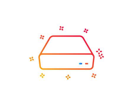 Mini pc line icon. Small computer device sign. Gradient design elements. Linear mini pc icon. Random shapes. Vector