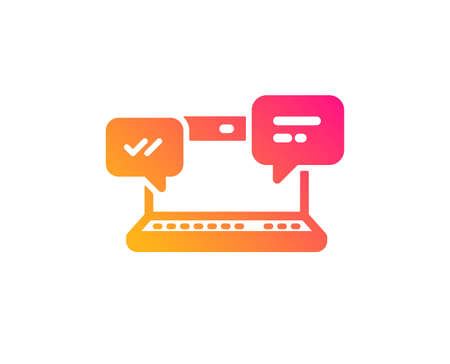 Internet Messages icon.  Chat or Conversation sign. Computer communication symbol. Classic flat style. Gradient internet Chat icon. Vector