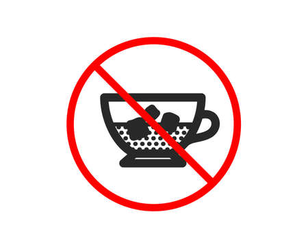 No or Stop. Coffee with ice icon. Cold drink sign. Beverage symbol. Prohibited ban stop symbol. No cold coffee icon. Vector