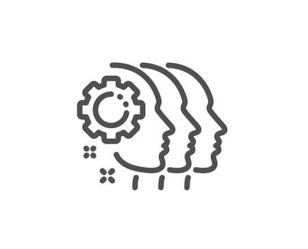 Employees teamwork line icon. Collaboration sign. Development partners symbol. Quality design element. Linear style employees teamwork icon. Editable stroke. Vector Illustration