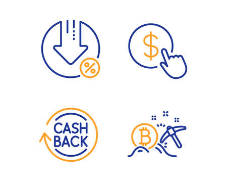 Buy currency, Cashback and Loan percent icons simple set. Bitcoin mining sign. Money exchange, Refund commission, Decrease rate. Cryptocurrency pickaxe. Finance set. Linear buy currency icon. Vector