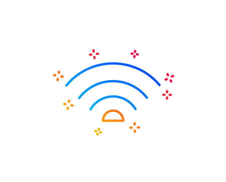 Wifi line icon. Wi-fi internet sign. Wireless network symbol. Gradient design elements. Linear wifi icon. Random shapes. Vector