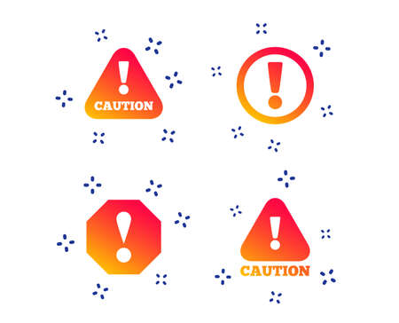 Attention caution icons. Hazard warning symbols. Exclamation sign. Random dynamic shapes. Gradient attention icon. Vector Çizim