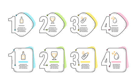 Whiskey bottle, Water bottle and Wine glass icons simple set. Water drop sign. Scotch alcohol, Still drink, Cabernet wineglass. Crystal aqua. Food and drink set. Infographic timeline. Vector Illustration