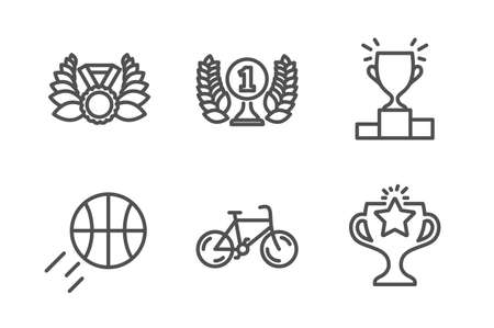Bicycle, Laureate medal and Winner podium icons simple set. Basketball, Laureate award and Victory signs. Bike, Laurel wreath. Sports set. Line bicycle icon. Editable stroke. Vector