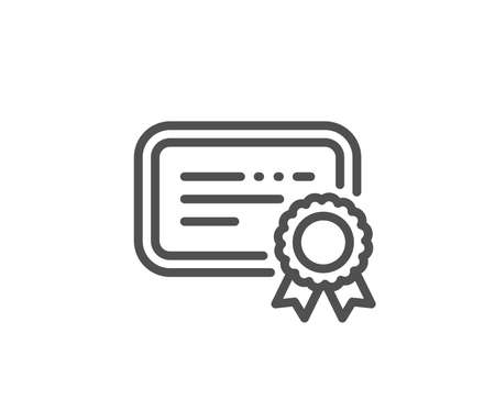 Certificate line icon. Verified document sign. Accepted or confirmed symbol. Quality design element. Linear style certificate icon. Editable stroke. Vector