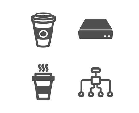 Set of Takeaway, Mini pc and Takeaway coffee icons. Restructuring sign. Takeout coffee, Computer, Hot latte drink. Delegate.  Classic design takeaway icon. Flat design. Vector