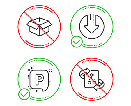 Do or Stop. Download arrow, Opened box and Parking icons simple set. Technical algorithm sign. Crisis, Shipping parcel, Auto park. Project doc. Line download arrow do icon. Prohibited ban stop Archivio Fotografico - 123633973