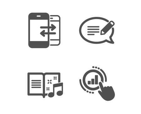 Set of Message, Phone communication and Music book icons. Graph chart sign. Speech bubble, Incoming and outgoing calls, Musical note. Get report.  Classic design message icon. Flat design. Vector